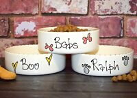 large 25cm dog bowl personalised ceramic pet bowl hand Painted dog bowl feeder
