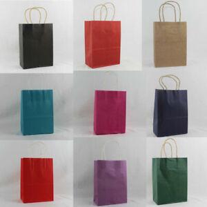 Kraft Paper Carrier Present Gift Bags Handles Wedding Birthday Bag  Small 21cm