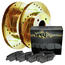 1992-1995 MX-3 Front Gold Hart Drilled Slotted Brake Rotors and Ceramic Pads