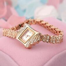 Fashion Women Alloy Crystal Quartz Rhombus Bracelet Bangle Wrist Watch Ladies FT
