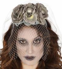 Day of the dead Sugar Skull Rose Grigio Cerchietto Velo Sposa Halloween Fancy Dress