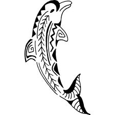 DOLPHIN TRIBAL JUMPING OUT OF WATER  CAR DECAL STICKER