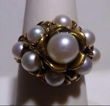 Stunning Philip Wolman 14k Solid Gold Ring Nugget Grape Fine Ring 9 Pearls