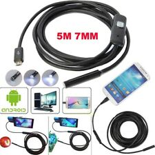 TELECAMERA ENDOSCOPICA SONDA PER ISPEZIONE USB 5M 6 LED IP67 ANDROID PC NOTEBOOK