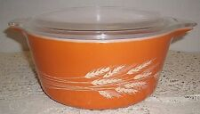 Vtg Pyrex Autumn HARVEST Orange WHEAT Covered 474 Casserole Dish 1.5qt