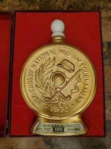 1973 JIM BEAM GOLD DECANTER BING CROSBY 32ND NATIONAL PRO-AM GOLF TOURNAMENT BOX
