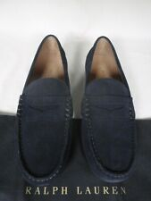 NEW RALPH LAUREN  Navy Blue Suede Loafer Shoes UK 8 E