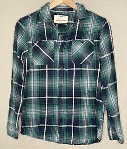 Urban Pipeline Boy's sz L Green Black Ultimate Flannel Plaid Button Down Shirt