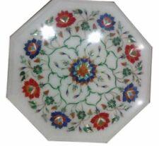 "12"" Inlay Floral Marble Semi Precious Stones Art work Corner Table Top"