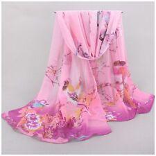 destockage foulard écharpe neuf mousseline de soie rose oiseaux