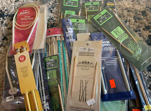 Huge lot of knitting Needles. Many bambo. 29 packages plus loose needles