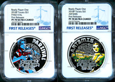 2-coin-set 2018 Ready Player One Art3mis & Parzival SILVER PROOF $1 1oz NGC PF70