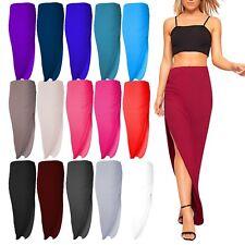 Womens Ladies Asymmetric Ruched Side Split Slit Maxi Dress Skirt Casual 8-14