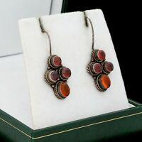 Antique Vintage Art Deco 925 Sterling Silver Garnet Baltic Amber Drop Earrings