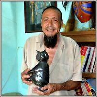 STUNNING NICOLAS ORTIZ OWL FINE MATA ORTIZ SCULPTED POTTERY BLACK COLECTORS QLTY