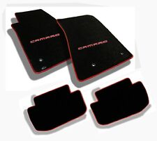NEW! Ebony Floor Mats 2010-2015 Camaro Embroidered in Red Premium binding 4 pc