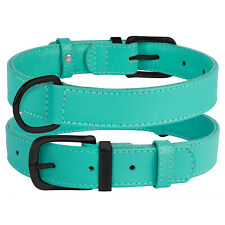 Genuine Leather Dog Collar Soft Padded Collars for Puppy Black Pink Red Blue