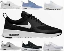 competitive price 11052 2b819 ... WOMENS NIKE AIR MAX THEA BLACK WHITE BLUE TRAINERS GIRLS RUNNING SHOES  UK ...