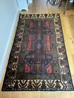 Vintage Traditional Hand Made Oriental Wool Rug 200x 118cm Dark Colours
