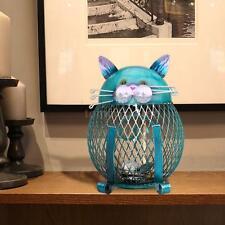 Homespun Blue Cat Shaped Piggy Bank Metal Coin Bank Money Box Art P1G8
