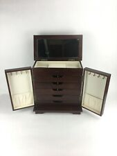 Large Wooden Jewelry Box Cabinet Armoire Drawers Mirror Necklace Hooks