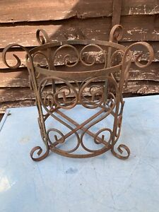 Large Vintage Wrought Iron Garden Patio Plant Pot Holder Planter