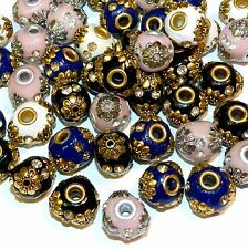IB213L2 Assorted Color 18mm Round Embellished Indonesia-Style Focal Beads 9pc