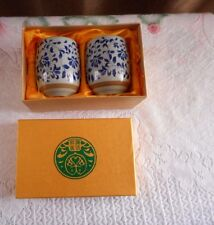 2 Chinese Japanese Blue And White Floral Cups With Box