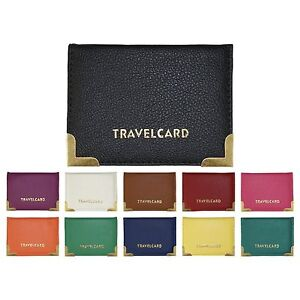 Faux Leather Travel Card Wallet ID Railcard Bus Pass Holder (Various Colours)