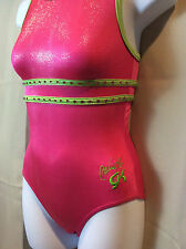 GK ELITE Carly Pink Green Foil Gymnastics Leotard Adult Extra Small XS