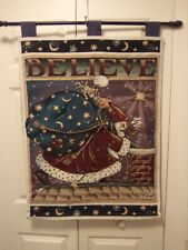 """Mary Engelbreit """"Believe"""" Wall Hanging Flag Tapestry Santa On Rooftop Euc"""