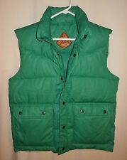 Vtg Down Vest SKOR Puffy Puffer Green Ski Hiking Camping Small