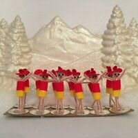 12 Vintage Pipe Cleaner Pixie Christmas Japan Chenille Ornament Craft Lot NOS