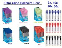 Ballpoint Pens Black/Blue/Red/Purple Ultra Glide Smooth Ink 1mm Medium Point Pen