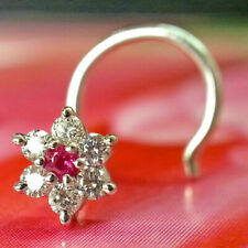 Nose Pin Stud In 14k White Gold Fn 0.15 Ct Round Cut Diamond & Ruby Flower Shape