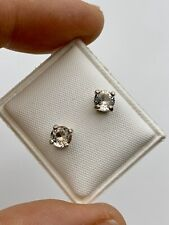 Round Brilliant cut faceted Herkimer Diamonds & Sterling Silver Earrings .80ct