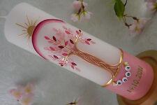 Taufkerze Lebensbaum rosa mit Regenbogen und Sonne Taufkerzen für Mädchen