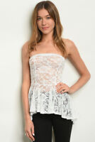 Women Sleeveless Strapless Off Shoulder Fitted Peplum Sheer Lace Tube Top Blouse