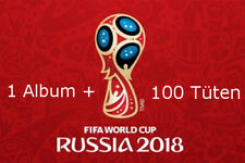 PANINI WM 2018 Russia World cup sticker album + 100 cartocci BOOSTER NUOVO OVP