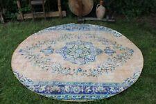 "Vintage Handmade Turkish Oushak Round Area Rug  81""x81"""