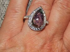 NATURAL RUSSIAN EUDIALYTE & WHITE TOPAZ RING-SIZE P-5.650CTS-WITH PLATINUM