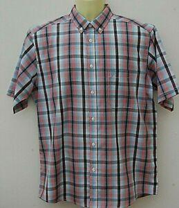 Mens Gents James Pringle Casual Golf Shirt Short Sleeve Size Medium Red Check.
