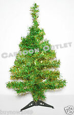 CHRISTMAS TREE 2 FT GREEN GOLD TINSEL TABLE TOP 60 TIPS RETRO STYLE LUSH TREE
