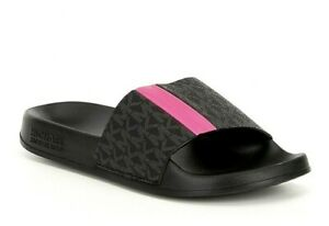Women MK Michael Kors Ayla Flat Slide Sandals Mini MK Logo PVC Lux Black/Multi