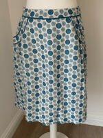 Ladies Boden Blue Circle Lined A-Line Cotton Skirt Size 10R