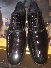 Mens Salvatore Ferragamo Aiden Black Patent Leather Oxfords Dress Shoe Size 9.5