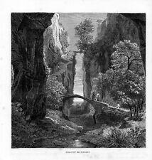 Stampa antica SORRENTO gola fra le rocce con due ponti Napoli 1876 Old print