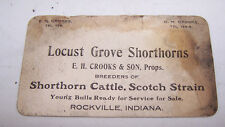 Antique Trade Card Crooks Locust Grove Shorthorn Cattle Rockville Indiana