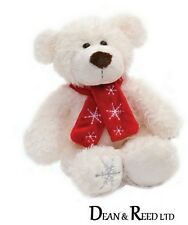 Archie White Christmas Teddy Bear and Scarf 25cm - Soft Toy by Suki Plush/Beanie