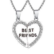 1pc Heart Split Rhinestone Necklace Friendship Best friends Pendant Necklaces